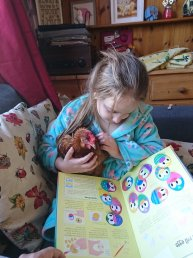 Erin and Mike the chicken