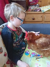 Liam and Susan the chicken